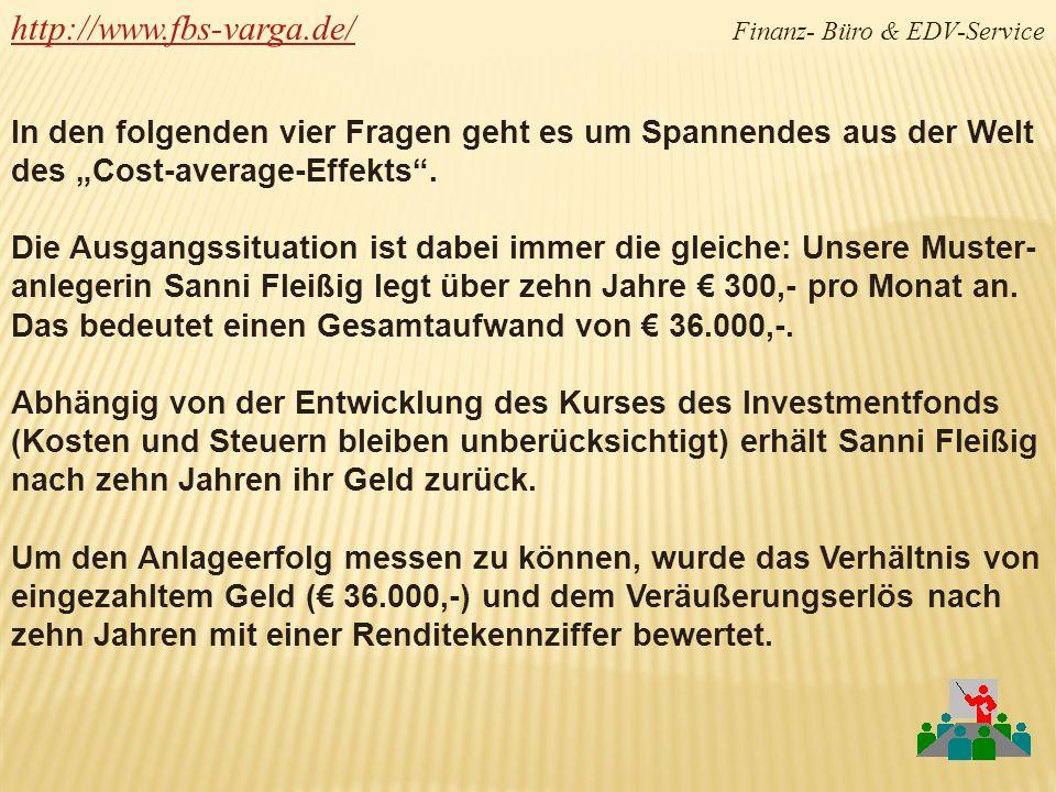 http://www.fbs-varga.de/http://www.fbs-varga.de/ Finanz- Büro & EDV-Service Sanni Fleißig legt monatlich 300,- in einen Aktienfonds an.
