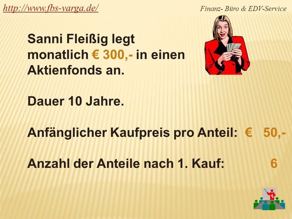 http://www.fbs-varga.de/http://www.fbs-varga.de/ Finanz- Büro & EDV-Service Sanni Fleißig legt monatlich 300,- in einen Aktienfonds an. Dauer 10 Jahre