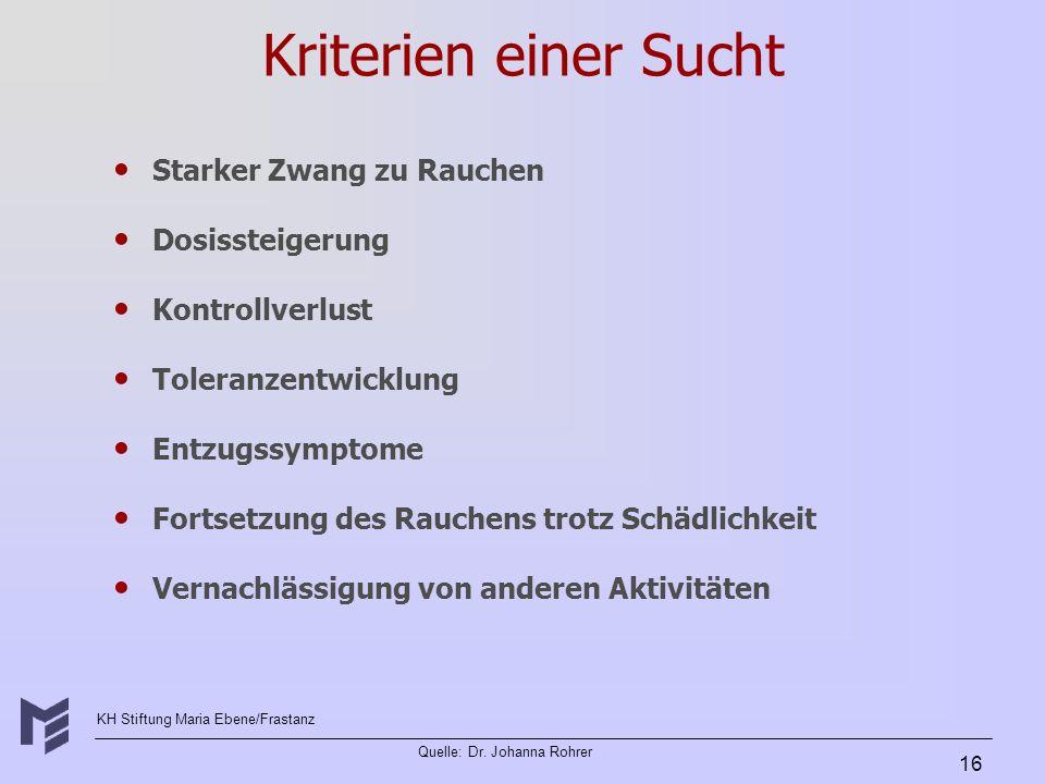 KH Stiftung Maria Ebene/Frastanz Quelle: Dr. Johanna Rohrer 16 Kriterien einer Sucht Starker Zwang zu Rauchen Dosissteigerung Kontrollverlust Toleranz