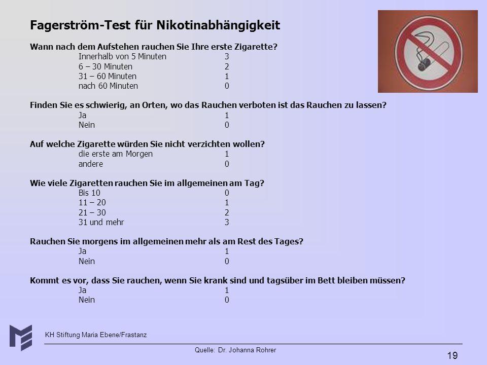 KH Stiftung Maria Ebene/Frastanz Quelle: Dr. Johanna Rohrer 19 Fagerström-Test für Nikotinabhängigkeit Wann nach dem Aufstehen rauchen Sie Ihre erste