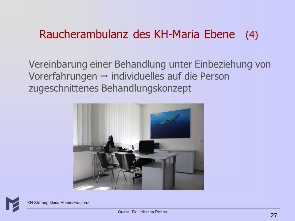 KH Stiftung Maria Ebene/Frastanz Quelle: Dr. Johanna Rohrer 27 Raucherambulanz des KH-Maria Ebene (4) Vereinbarung einer Behandlung unter Einbeziehung