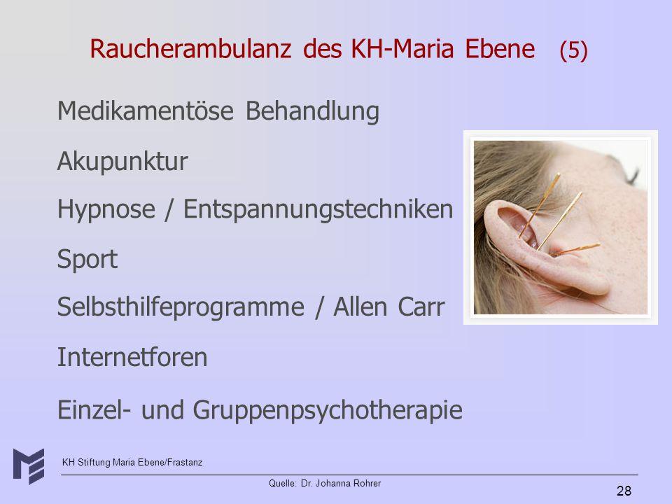 KH Stiftung Maria Ebene/Frastanz Quelle: Dr. Johanna Rohrer 28 Raucherambulanz des KH-Maria Ebene (5) Akupunktur Hypnose / Entspannungstechniken Sport