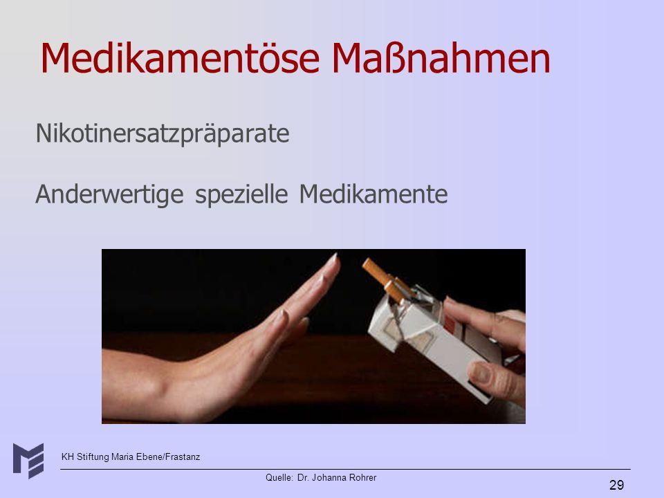 KH Stiftung Maria Ebene/Frastanz Quelle: Dr. Johanna Rohrer 29 Medikamentöse Maßnahmen Nikotinersatzpräparate Anderwertige spezielle Medikamente