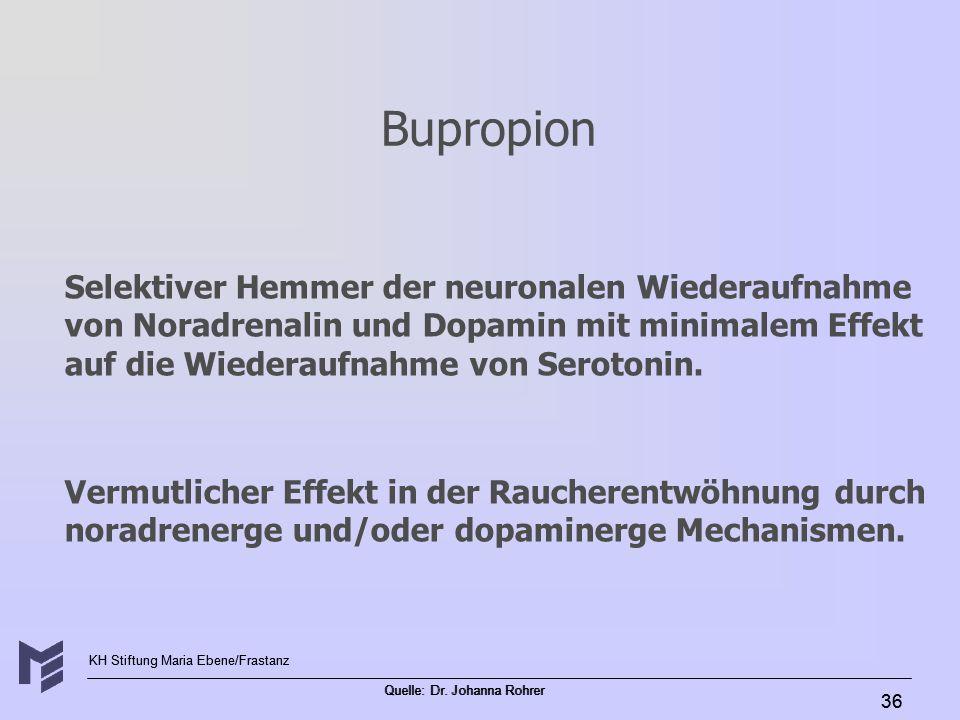 KH Stiftung Maria Ebene/Frastanz Quelle: Dr. Johanna Rohrer 36 Bupropion Selektiver Hemmer der neuronalen Wiederaufnahme von Noradrenalin und Dopamin
