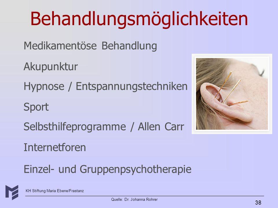 KH Stiftung Maria Ebene/Frastanz Quelle: Dr. Johanna Rohrer 38 Behandlungsmöglichkeiten Akupunktur Hypnose / Entspannungstechniken Sport Selbsthilfepr