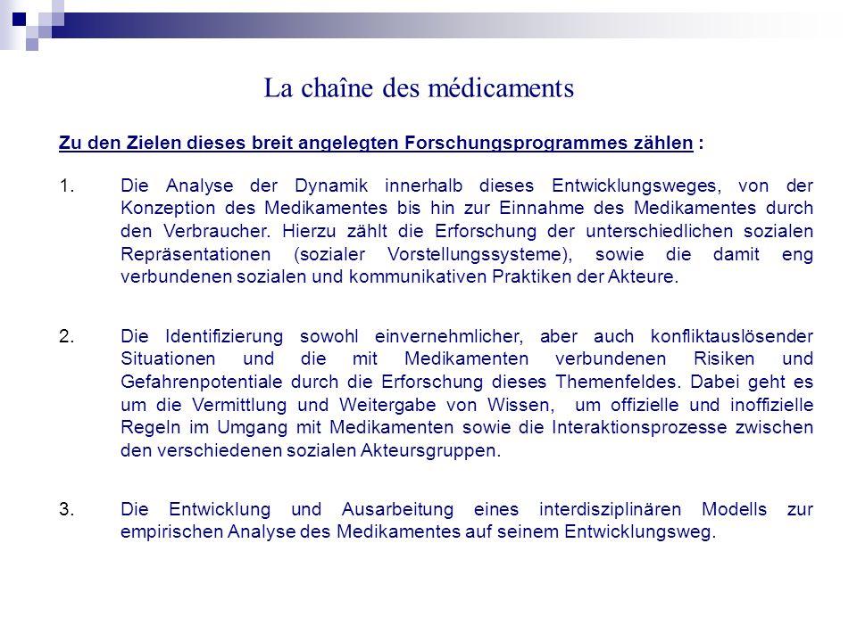 La chaîne des médicaments interdisziplinäre Arbeitsgruppe Grands Travaux CRSH Catherine Garnier