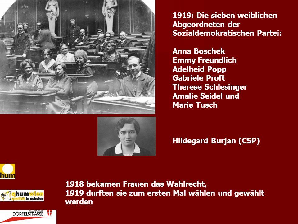 1918 bekamen Frauen das Wahlrecht, 1919 durften sie zum ersten Mal wählen und gewählt werden 1919: Die sieben weiblichen Abgeordneten der Sozialdemokr