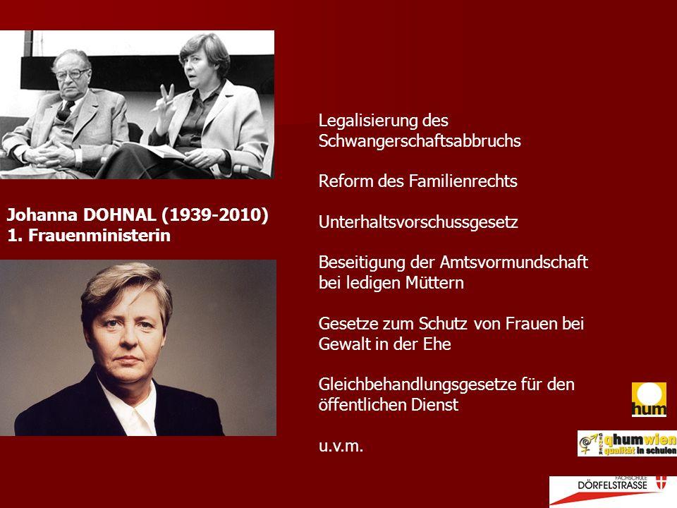 Johanna DOHNAL (1939-2010) 1. Frauenministerin Legalisierung des Schwangerschaftsabbruchs Reform des Familienrechts Unterhaltsvorschussgesetz Beseitig