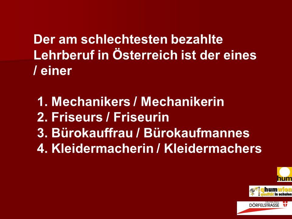 Der am schlechtesten bezahlte Lehrberuf in Österreich ist der eines / einer 1. Mechanikers / Mechanikerin 2. Friseurs / Friseurin 3. Bürokauffrau / Bü
