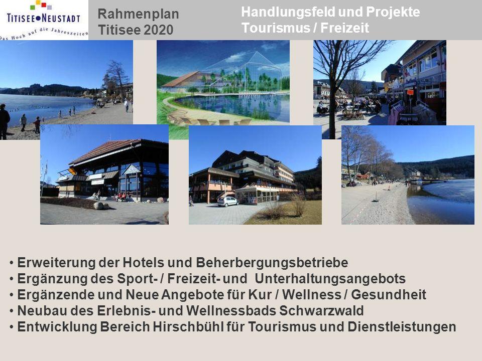 Rahmenplan Titisee 2020 Handlungsfeld und Projekte Tourismus / Freizeit Erweiterung der Hotels und Beherbergungsbetriebe Ergänzung des Sport- / Freize