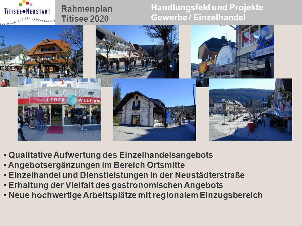 Rahmenplan Titisee 2020 Handlungsfeld und Projekte Gewerbe / Einzelhandel Qualitative Aufwertung des Einzelhandelsangebots Angebotsergänzungen im Bere