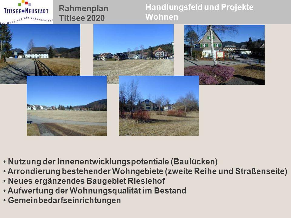 Rahmenplan Titisee 2020 Handlungsfeld und Projekte Wohnen Nutzung der Innenentwicklungspotentiale (Baulücken) Arrondierung bestehender Wohngebiete (zw