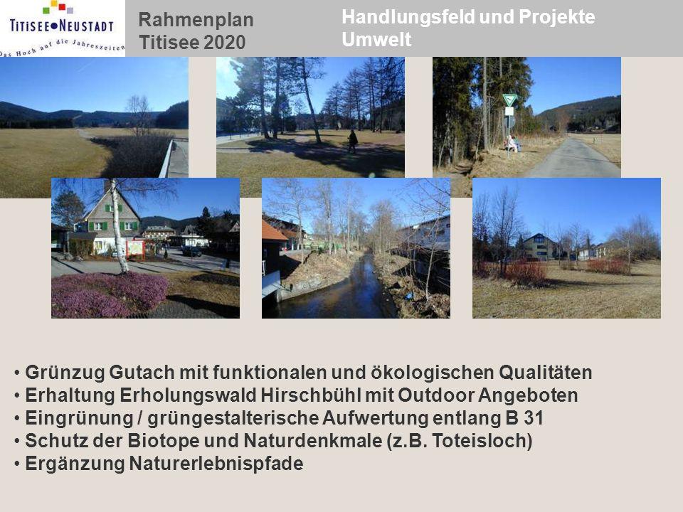 Rahmenplan Titisee 2020 Handlungsfeld und Projekte Umwelt Grünzug Gutach mit funktionalen und ökologischen Qualitäten Erhaltung Erholungswald Hirschbü