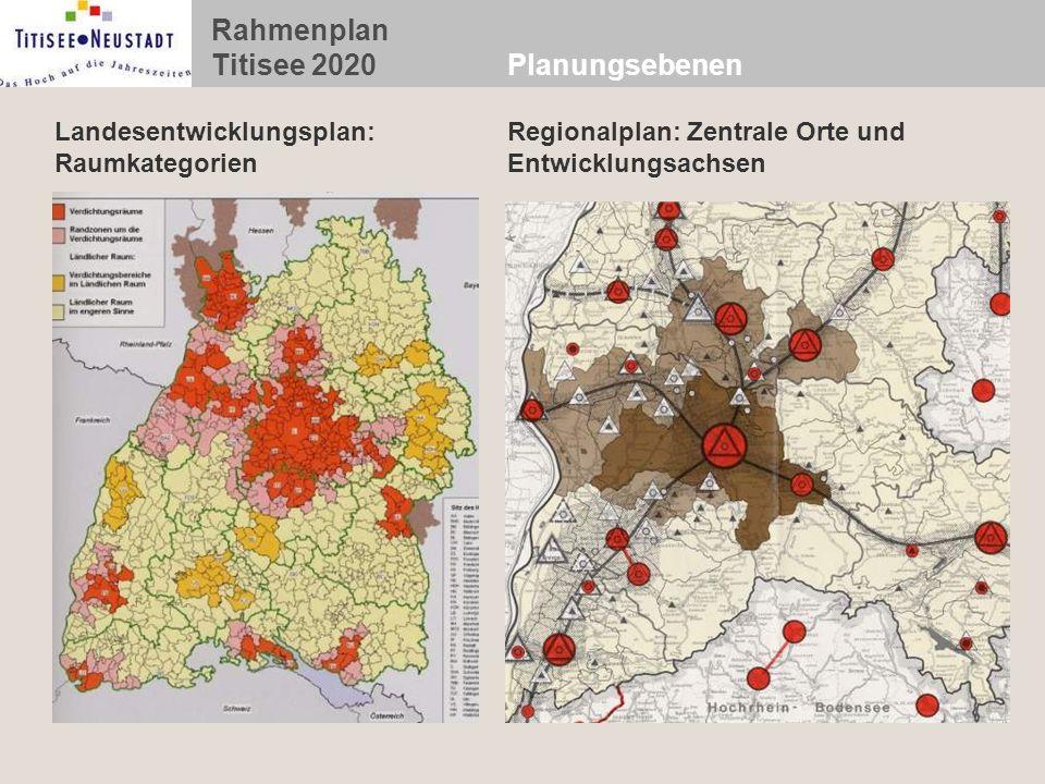 Rahmenplan Titisee 2020 Planungsebenen Regionalplan: Zentrale Orte und Entwicklungsachsen Landesentwicklungsplan: Raumkategorien