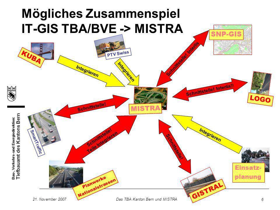 Bau-, Verkehrs- und Energiedirektion: Tiefbauamt des Kantons Bern 21. November 2007Das TBA Kanton Bern und MISTRA 6 GISTRAL SmartTraffic PTV Swiss SNP