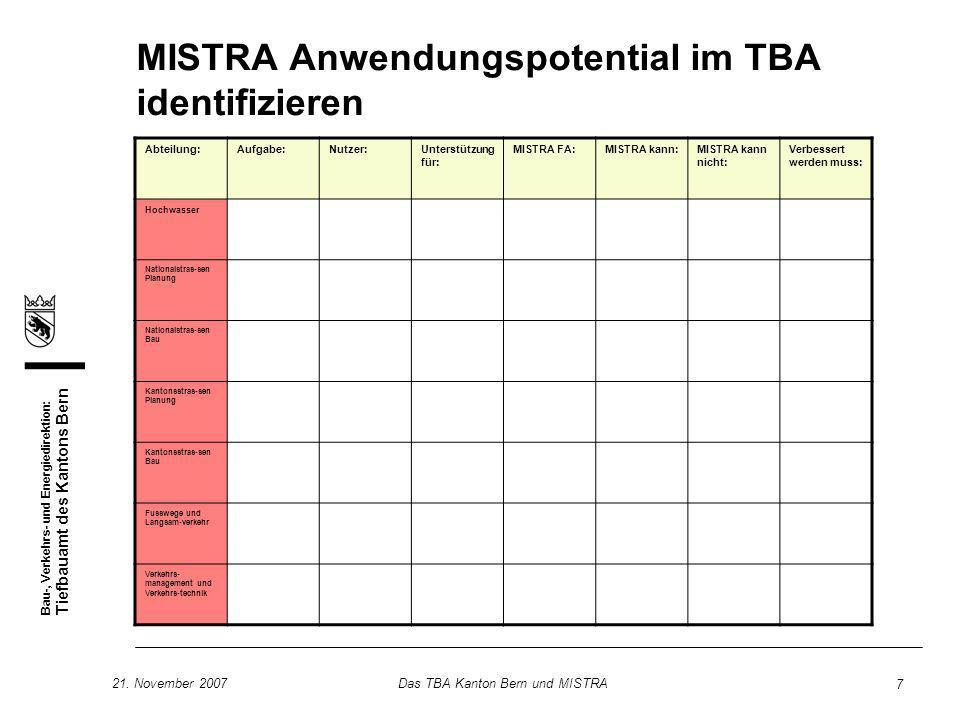 Bau-, Verkehrs- und Energiedirektion: Tiefbauamt des Kantons Bern 21. November 2007Das TBA Kanton Bern und MISTRA 7 MISTRA Anwendungspotential im TBA