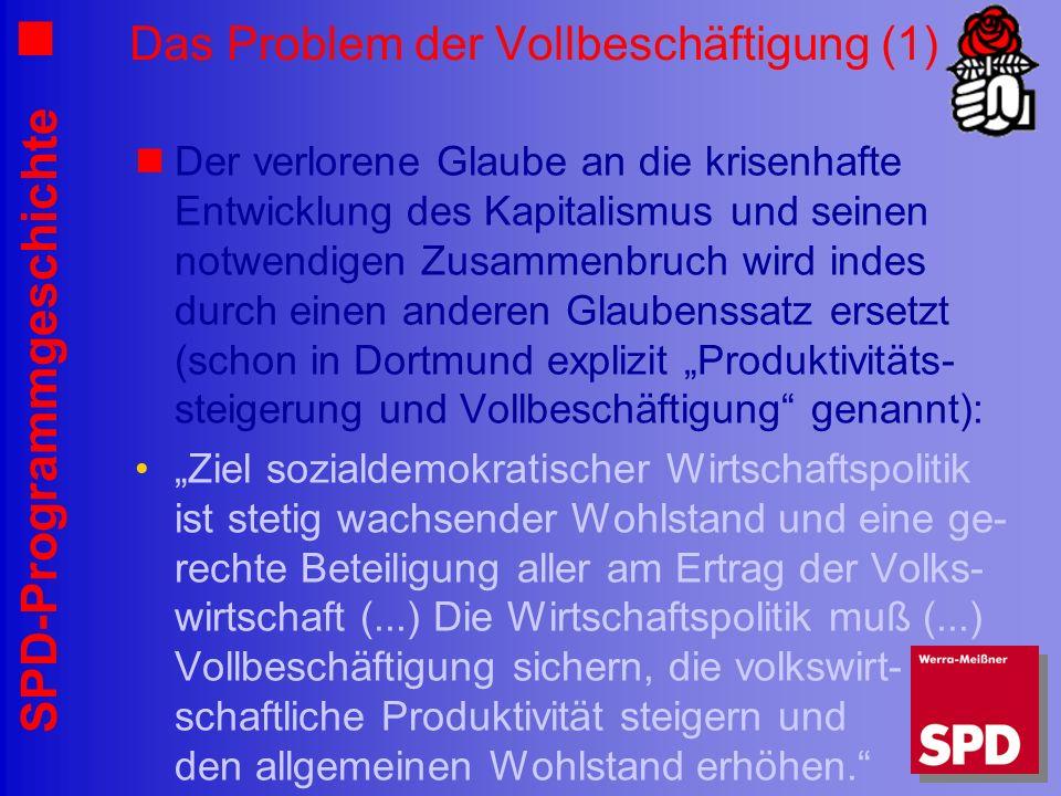 SPD-Programmgeschichte Das Problem der Vollbeschäftigung (1) Der verlorene Glaube an die krisenhafte Entwicklung des Kapitalismus und seinen notwendig