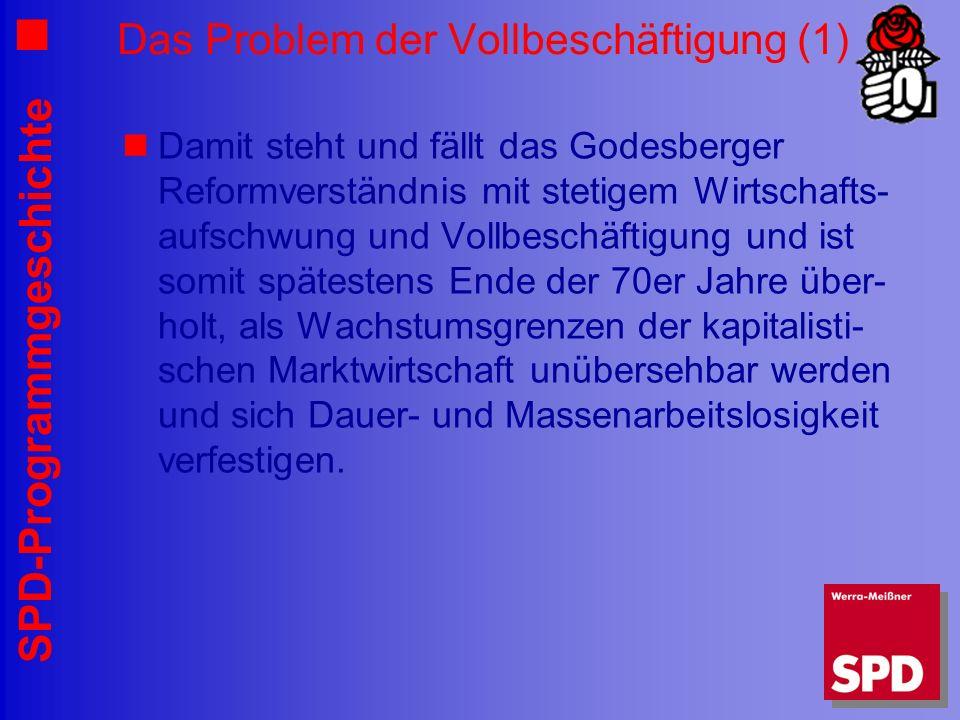 SPD-Programmgeschichte Das Problem der Vollbeschäftigung (1) Damit steht und fällt das Godesberger Reformverständnis mit stetigem Wirtschafts- aufschw