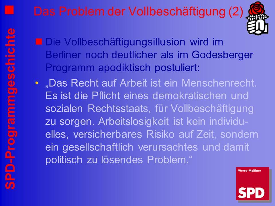 SPD-Programmgeschichte Das Problem der Vollbeschäftigung (2) Die Vollbeschäftigungsillusion wird im Berliner noch deutlicher als im Godesberger Progra