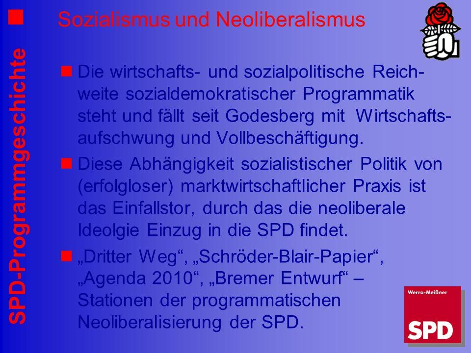 SPD-Programmgeschichte Sozialismus und Neoliberalismus Die wirtschafts- und sozialpolitische Reich- weite sozialdemokratischer Programmatik steht und