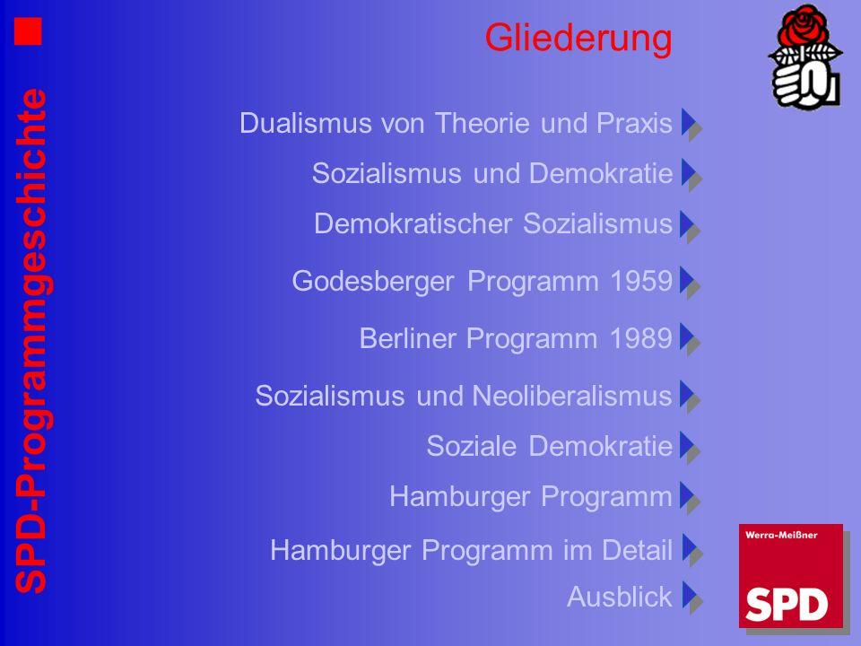 SPD-Programmgeschichte Gliederung Sozialismus und Demokratie Dualismus von Theorie und Praxis Demokratischer Sozialismus Godesberger Programm 1959 Ber