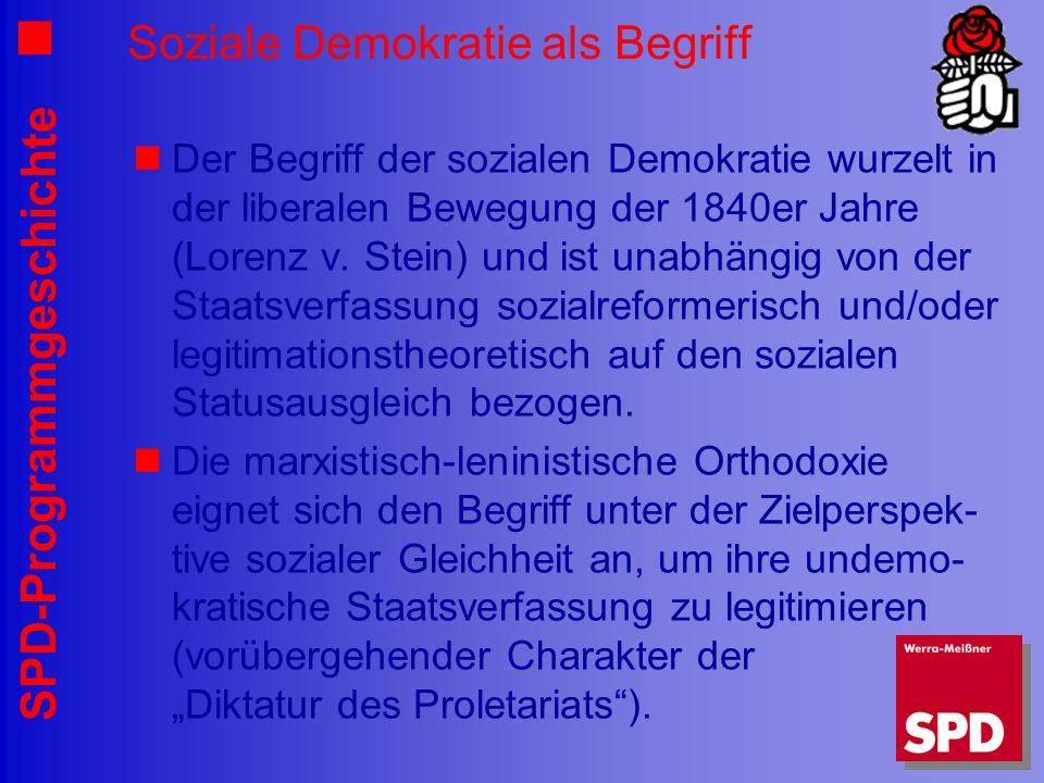 SPD-Programmgeschichte Soziale Demokratie als Begriff Der Begriff der sozialen Demokratie wurzelt in der liberalen Bewegung der 1840er Jahre (Lorenz v