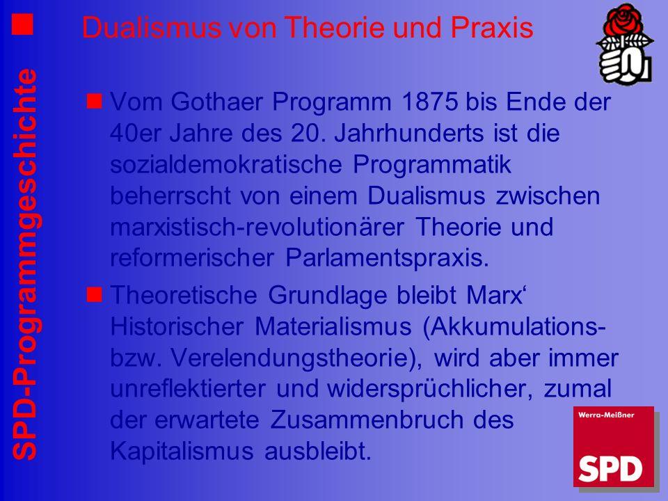 SPD-Programmgeschichte Dualismus von Theorie und Praxis Vom Gothaer Programm 1875 bis Ende der 40er Jahre des 20. Jahrhunderts ist die sozialdemokrati