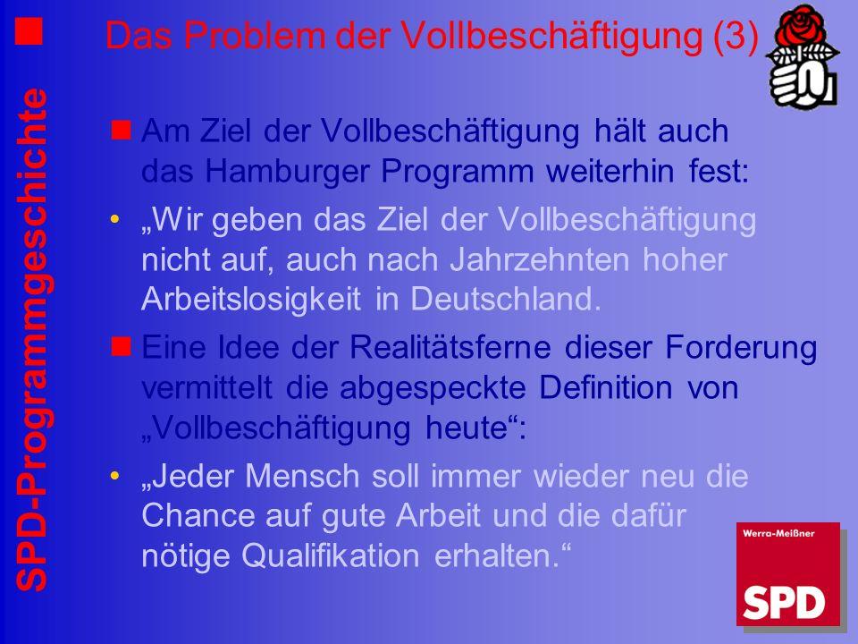 SPD-Programmgeschichte Das Problem der Vollbeschäftigung (3) Am Ziel der Vollbeschäftigung hält auch das Hamburger Programm weiterhin fest: Wir geben