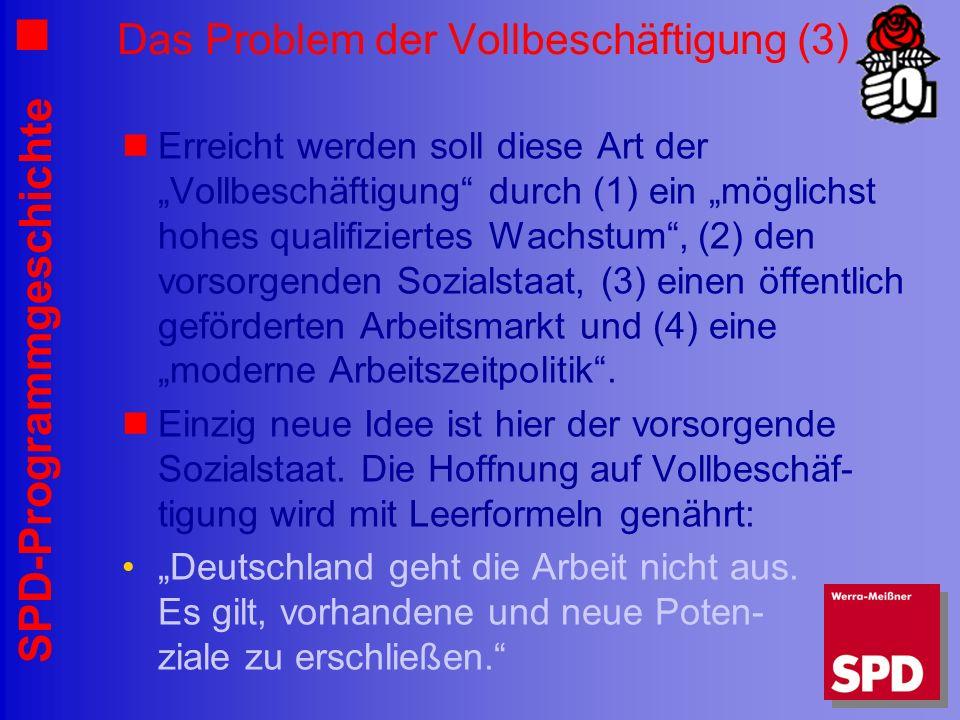 SPD-Programmgeschichte Das Problem der Vollbeschäftigung (3) Erreicht werden soll diese Art der Vollbeschäftigung durch (1) ein möglichst hohes qualif