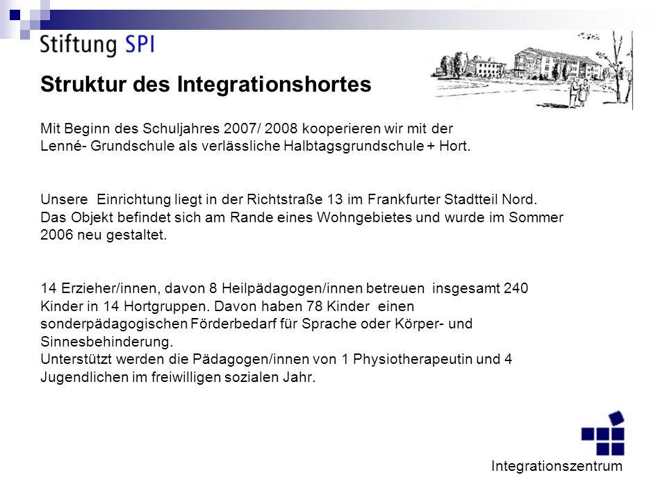 Struktur des Integrationshortes Mit Beginn des Schuljahres 2007/ 2008 kooperieren wir mit der Lenné- Grundschule als verlässliche Halbtagsgrundschule + Hort.