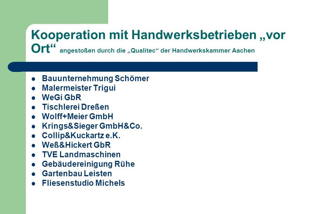 Kooperation mit Handwerksbetrieben vor Ort angestoßen durch die Qualitec der Handwerkskammer Aachen Bauunternehmung Schömer Malermeister Trigui WeGi G