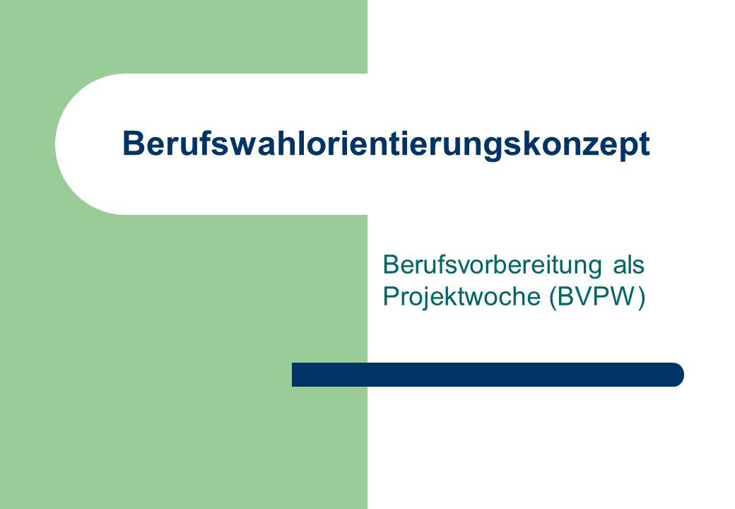 Berufswahlorientierungskonzept Berufsvorbereitung als Projektwoche (BVPW)