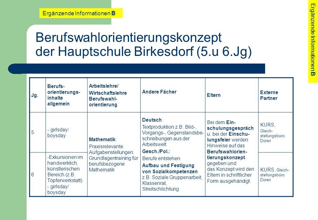 Berufswahlorientierungskonzept der Hauptschule Birkesdorf (5.u 6.Jg) Jg. Berufs- orientierungs- inhalte allgemein Arbeitslehre/ Wirtschaftslehre Beruf