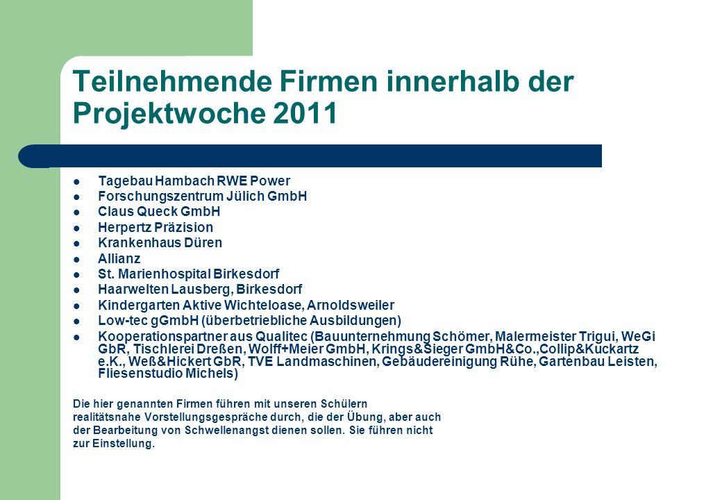 Teilnehmende Firmen innerhalb der Projektwoche 2011 Tagebau Hambach RWE Power Forschungszentrum Jülich GmbH Claus Queck GmbH Herpertz Präzision Kranke