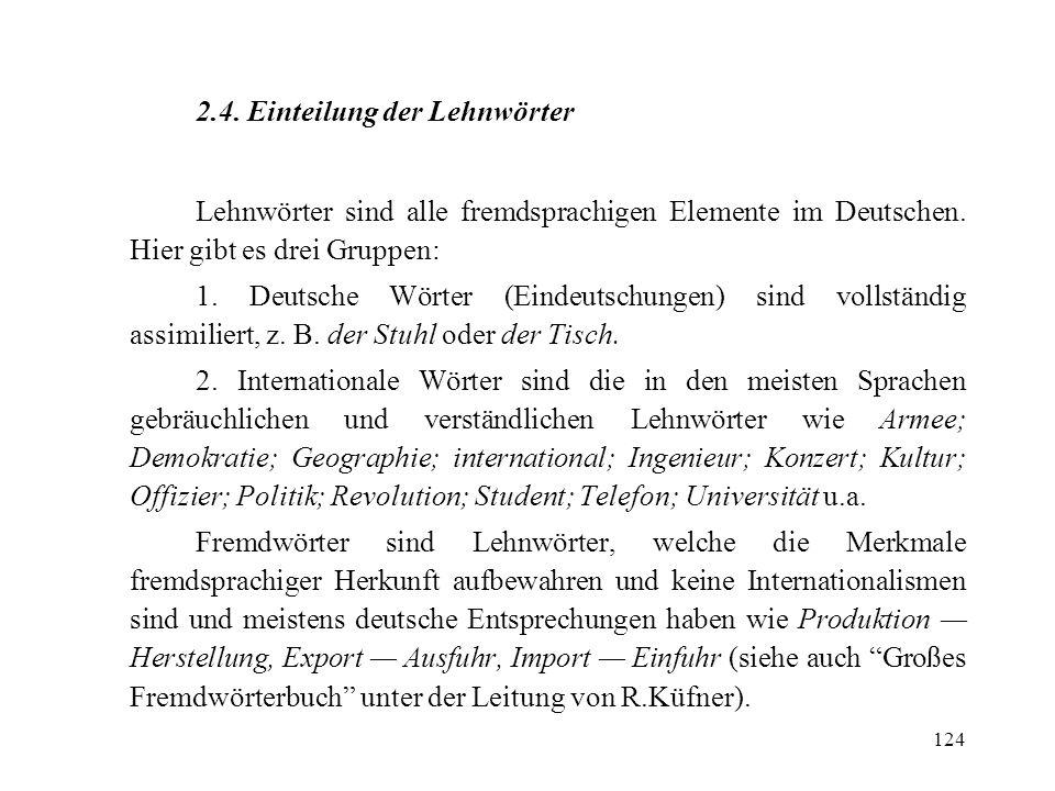 124 2.4. Einteilung der Lehnwörter Lehnwörter sind alle fremdsprachigen Elemente im Deutschen. Hier gibt es drei Gruppen: 1. Deutsche Wörter (Eindeuts