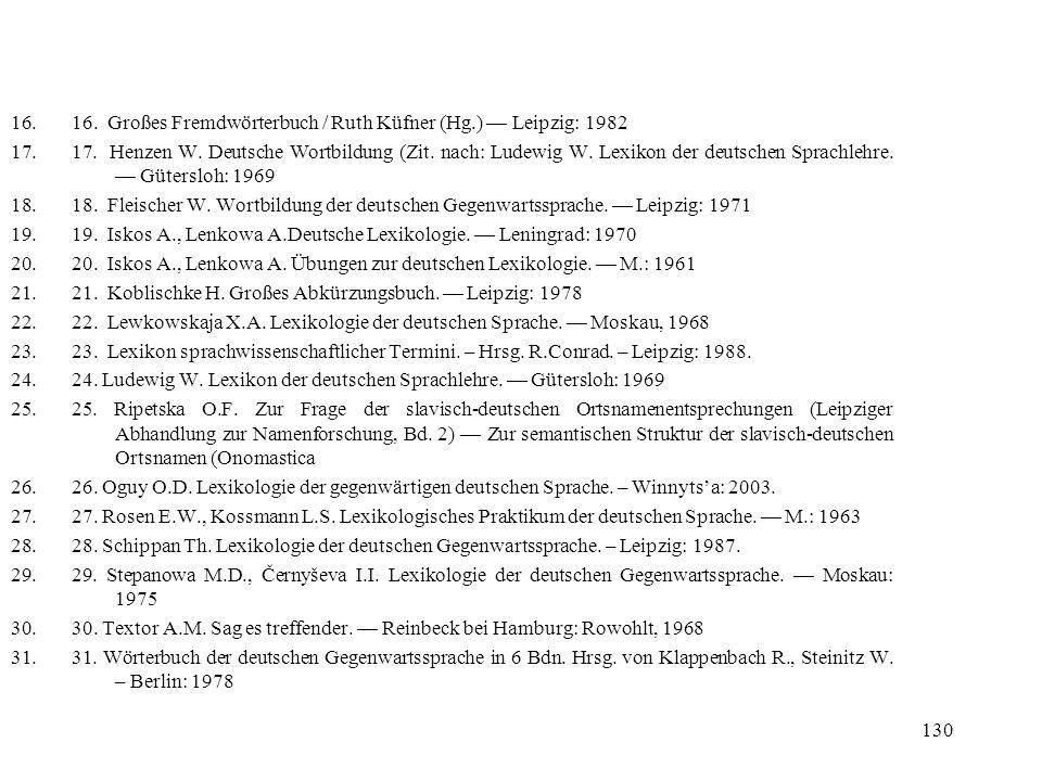 130 16.16. Großes Fremdwörterbuch / Ruth Küfner (Hg.) Leipzig: 1982 17.17. Henzen W. Deutsche Wortbildung (Zit. nach: Ludewig W. Lexikon der deutschen