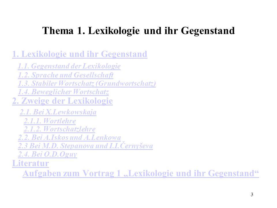 3 Thema 1. Lexikologie und ihr Gegenstand 1. Lexikologie und ihr Gegenstand 1.1. Gegenstand der Lexikologie 1.2. Sprache und Gesellschaft 1.3. Stabile