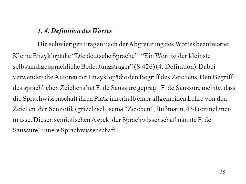 35 1. 4. Definition des Wortes Die schwierigen Fragen nach der Abgrenzung des Wortes beantwortet Kleine Enzyklopädie Die deutsche Sprache: Ein Wort is