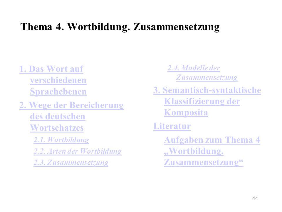 44 Thema 4. Wortbildung. Zusammensetzung 1. Das Wort auf verschiedenen Sprachebenen 2. Wege der Bereicherung des deutschen Wortschatzes 2.1. Wortbildu