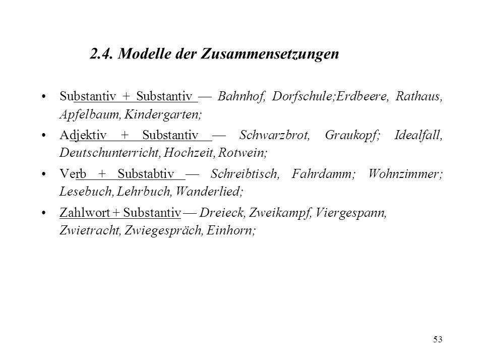53 2.4. Modelle der Zusammensetzungen Substantiv + Substantiv Bahnhof, Dorfschule;Erdbeere, Rathaus, Apfelbaum, Kindergarten; Adjektiv + Substantiv Sc