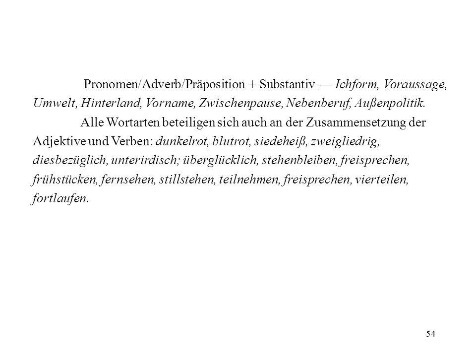 54 Pronomen/Adverb/Präposition + Substantiv Ichform, Voraussage, Umwelt, Hinterland, Vorname, Zwischenpause, Nebenberuf, Außenpolitik. Alle Wortarten