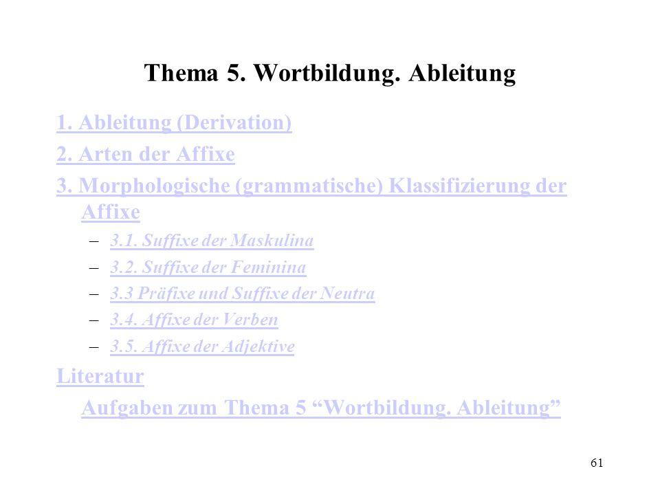 61 Thema 5. Wortbildung. Ableitung 1. Ableitung (Derivation) 2. Arten der Affixe 3. Morphologische (grammatische) Klassifizierung der Affixe –3.1. Suf