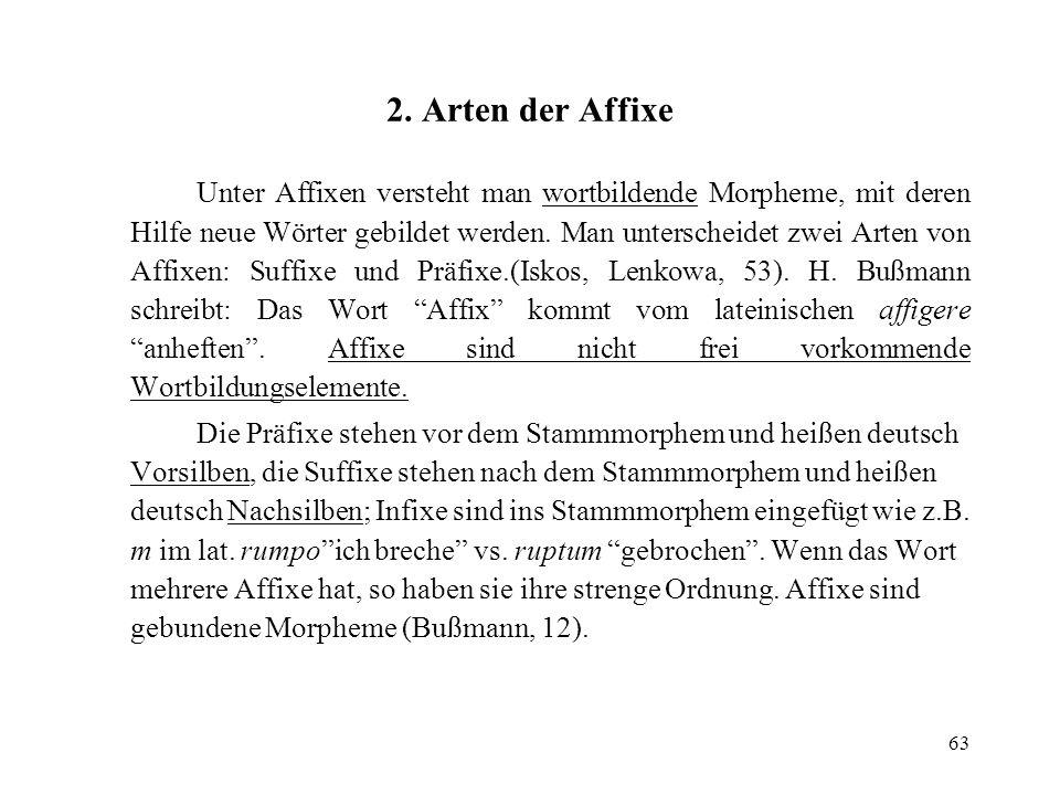 63 2. Arten der Affixe Unter Affixen versteht man wortbildende Morpheme, mit deren Hilfe neue Wörter gebildet werden. Man unterscheidet zwei Arten von