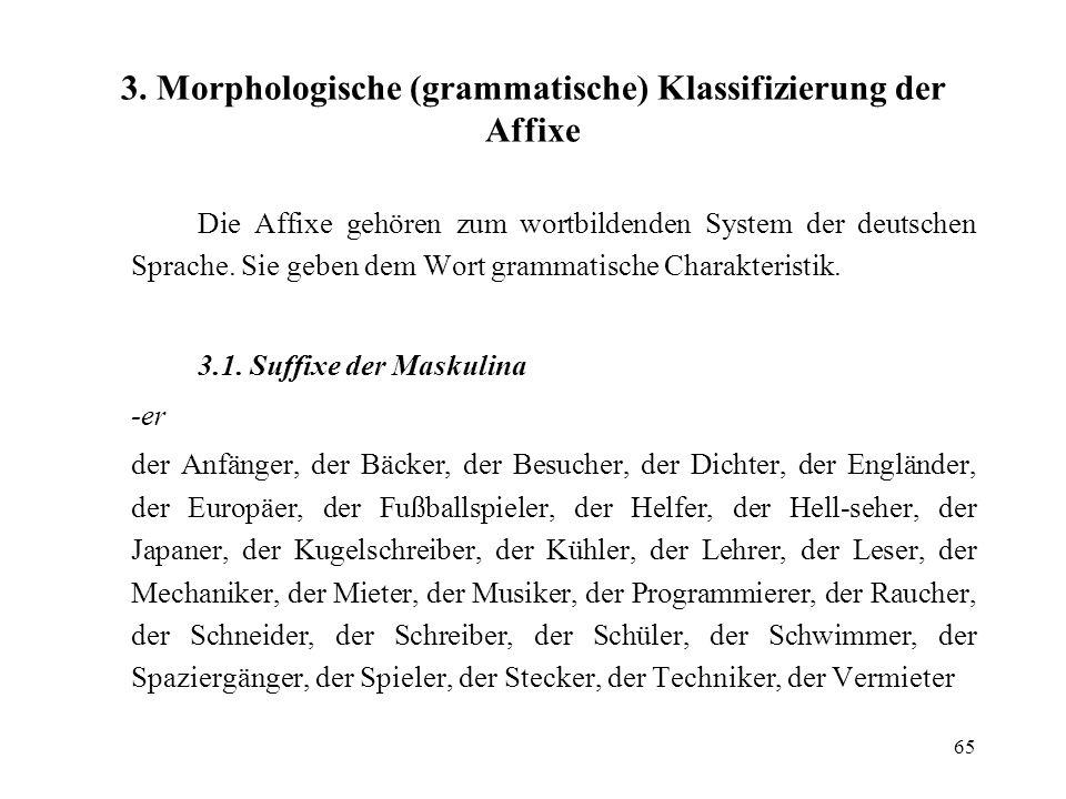 65 3. Morphologische (grammatische) Klassifizierung der Affixe Die Affixe gehören zum wortbildenden System der deutschen Sprache. Sie geben dem Wort g