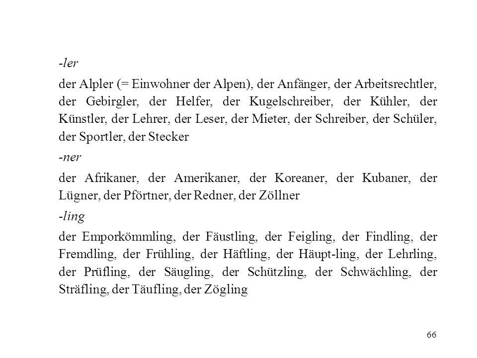 66 -ler der Alpler (= Einwohner der Alpen), der Anfänger, der Arbeitsrechtler, der Gebirgler, der Helfer, der Kugelschreiber, der Kühler, der Künstler