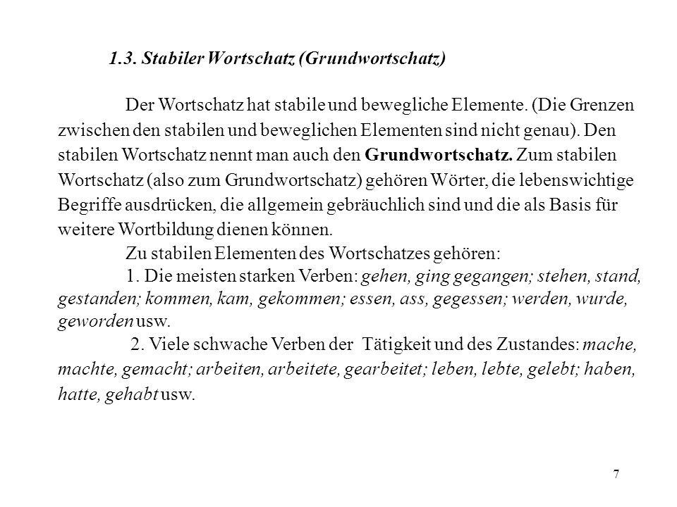 58 9 Zusammenfassend kann man sagen, dass die Wortbildung der produktivste Weg der Bereicherung des deutschen Wortschatzes ist.