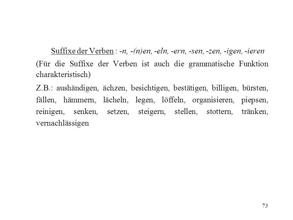 73 Suffixe der Verben : -n, -(n)en, -eln, -ern, -sen, -zen, -igen, -ieren (Für die Suffixe der Verben ist auch die grammatische Funktion charakteristi