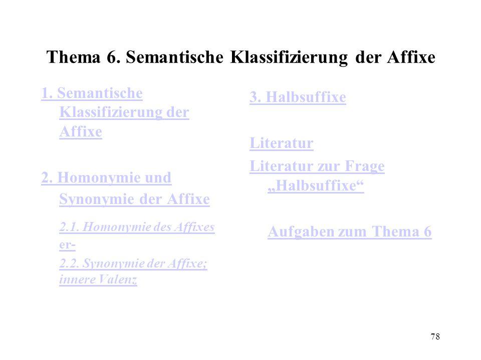 78 Thema 6. Semantische Klassifizierung der Affixe 1. Semantische Klassifizierung der Affixe 2. Homonymie und Synonymie der Affixe 2.1. Homonymie des