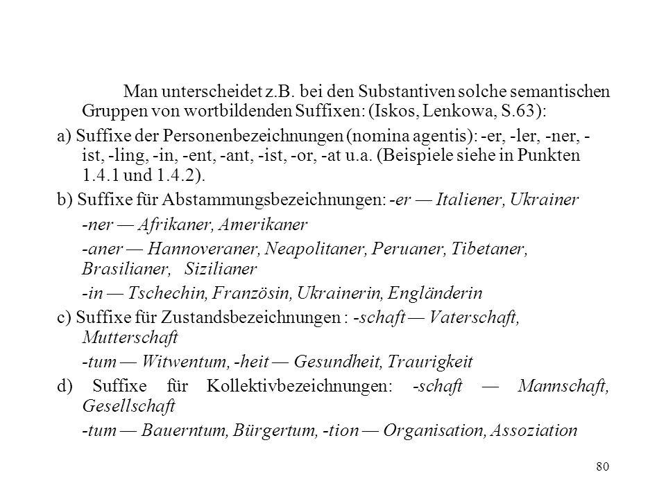 80 Man unterscheidet z.B. bei den Substantiven solche semantischen Gruppen von wortbildenden Suffixen: (Iskos, Lenkowa, S.63): a) Suffixe der Personen