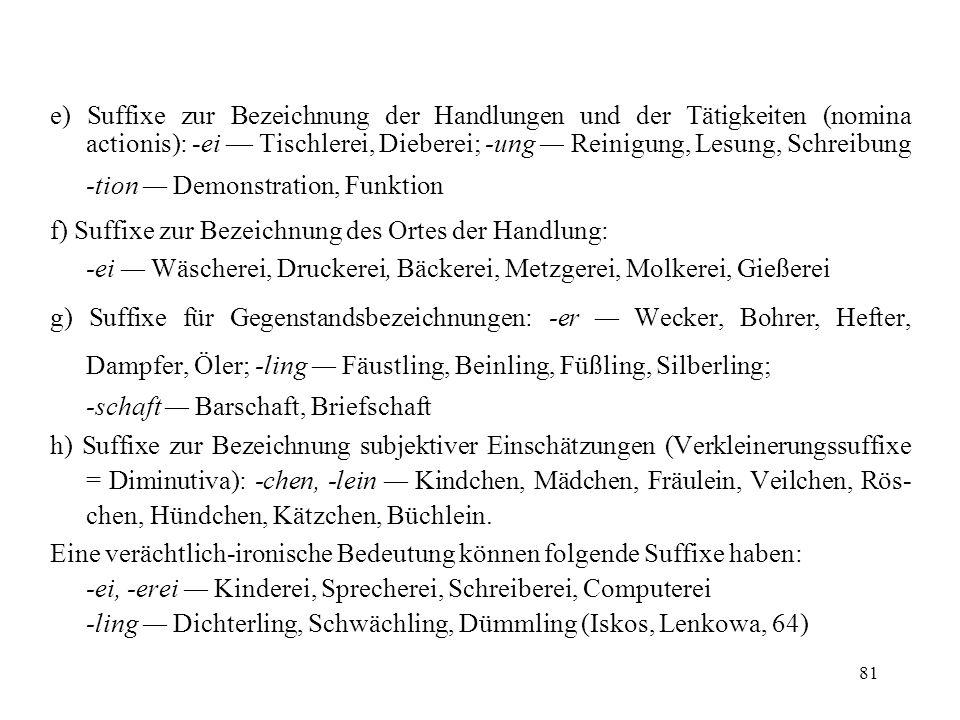 81 e) Suffixe zur Bezeichnung der Handlungen und der Tätigkeiten (nomina actionis): -ei Tischlerei, Dieberei; -ung Reinigung, Lesung, Schreibung -tion